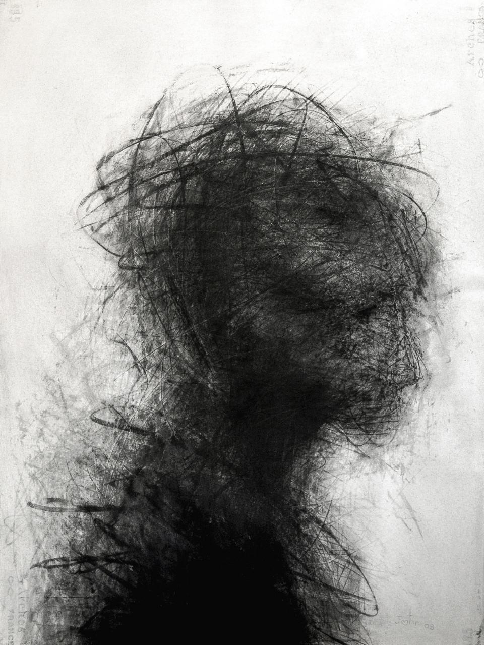 Head 2008  charcoal on paper 77 x 57 cm