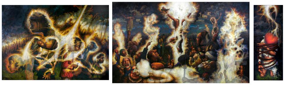 The Triptych   1991-2004  oil on linen  183 x 579 cm  P.O.A.