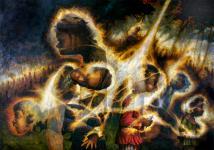 The Triptych (panel 1)  Mathew 24/27  1991-2004  oil on linen 153 x 213 cm  P.O.A.