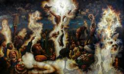 The Triptych (panel 2) Mathew 27/50-54  1991-2004  oil on linen 183 x 305 cm  P.O.A.